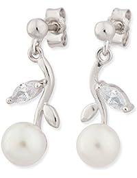 Schmuck-Pur 925/- Sterling - Silber Ohrhänger mit weißer Muschelkernperle 6mm und Zirkona rhodiniert 1,90 cm