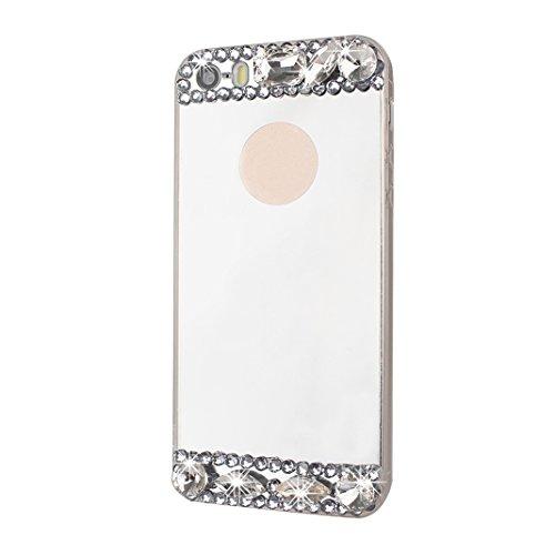 Spéculaire Coque Pour iPhone 5/5S/SE, Asnlove Miroir Cover TPU Couleur Pure Housse Ultra Mince Cas Strass Étui Rhinestone Mode Case Pour iPhone 5/5S/SE - Or rgenté Shell/Strass Blanc Bague