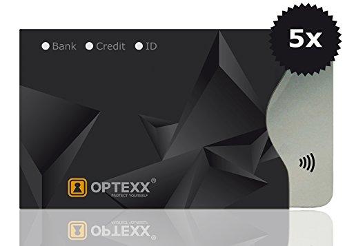 OPTEXX 5x RFID Schutzhülle TÜV geprüft & zerifiziert Finn für Kreditkarte  EC-Karte  Personal-Ausweis Hülle sicheres Blocking von Funk Chips
