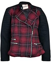 Womens Girls Tartan Print Biker Jacket