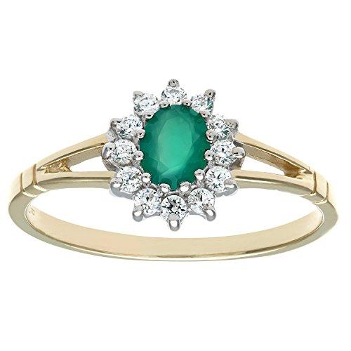 Citerna Damen-Ring 375 Gelbgold und Weißgold Diamant 9 Karat Cluster Ring Stein