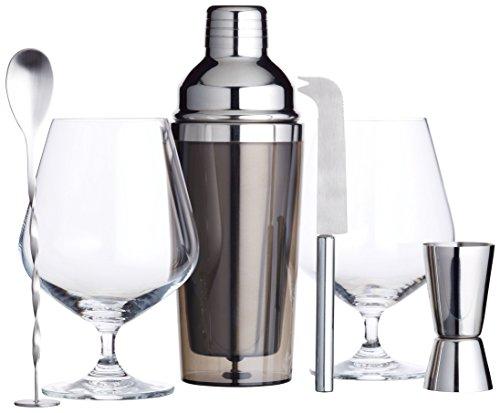 KitchenCraft Bar Craft Luxus Gin Gläser und Cocktail Making-Kit, Silber, 6-tlg.