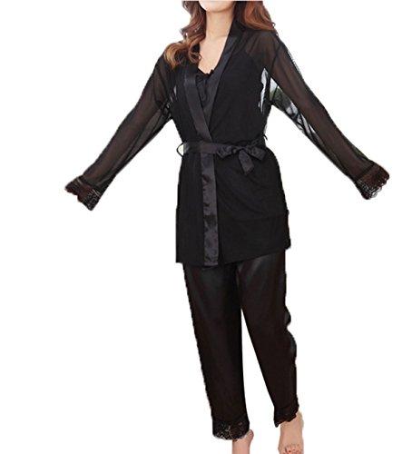 Pyjamas Occasionnels D'été Mince Mme Sexy Trois Pièces De Soie à Manches Longues Black