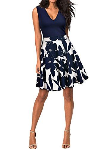 MIUSOL Kleid V-Vusschnitt Armellos Blume Patterned Mini Casual Kleid Navy Blau Gr.XL - 3
