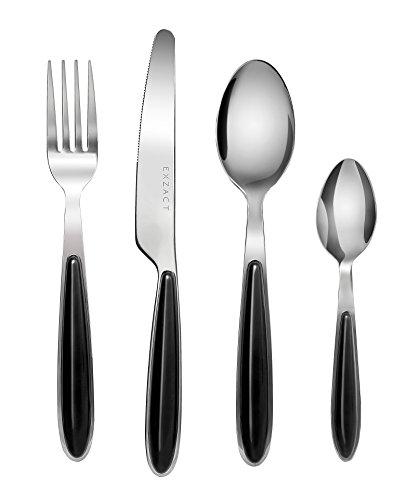 EXZACT Posate Acciaio Inossidabile con Manici di Colore - 6 Forchette, 6 Coltelli Cena, 6 Cucchiai Cena, 6 Cucchiaini (Nero x 24) (EX07 Set)