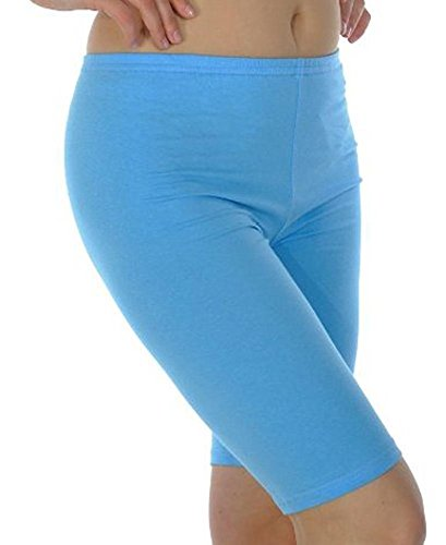 LADIES STRETCHY COTTON LYCRA ABOVE KNEE SHORTS ACTIVE LEGGING (X-SMALL, SKY BLUE) (Cotton-shorts-tanzen)