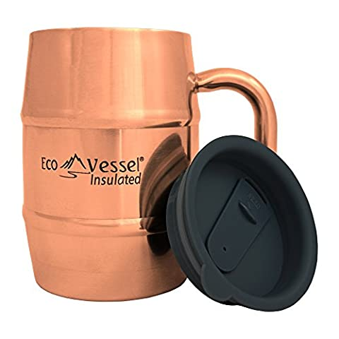 EcoVessel DOUBLE BARREL Double Wall Insulated Stainless Steel Beer and Coffee Mug with Lid - 16 Ounces - Copper