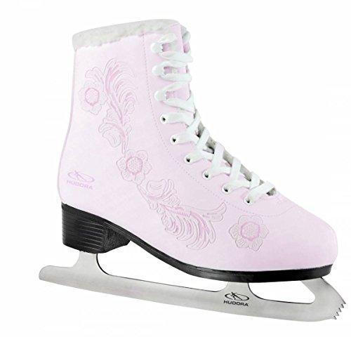Hudora Rose gefütterte Schlittschuhe Eiskunstlauf rosa Damen weiß-rosa, 41