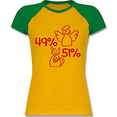 Sprüche - 49% Engel - 51% Teufel - zweifarbiges Baseballshirt / Raglan T-Shirt für Damen Gelb/Grün