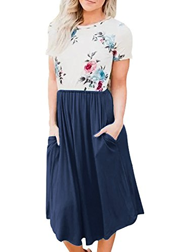 Quceyu Women Casual Short Sleeve Floral Print Swing Midi Dress Summer Dresses with Pockets