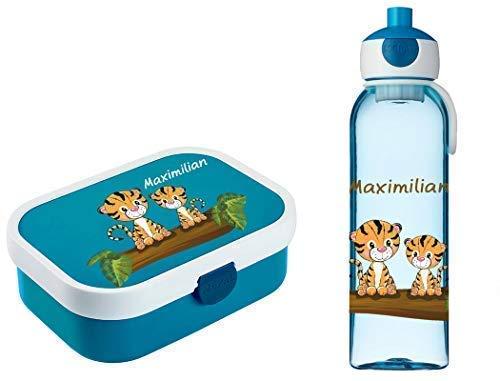 Mein Zwergenland Brotdose Mepal Campus inkl. Bento Box und Gabel + Campus Wasserflasche mit Namen Blau, Tiger