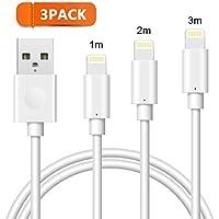 Cable Lightning vers USB Avoalre Lot de 3 Câble iPhone 1 / 2 / 3m Blanc pour iPhone 8 / 8 Plus / 7 / 7 Plus / 6 / 6 Plus / 6s / 6s Plus / 5 / 5s / 5c,iPad Air / mini