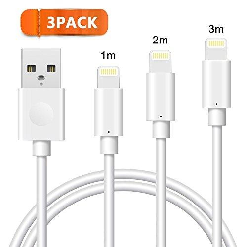 Lightning Kabel Avoalre 1m 2m 3m Datenkabel Lightning USB Kabel Ladenkabel Apple Kabel für iPhone 8/X/8 Plus/7/7 Plus SE 6 plus 6 SE 5S 6S iPad Mini Air (Weiß) (5 Ipod Touch Ersatz-akku)