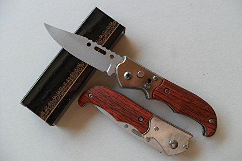 Lapetitecaverne CP-PC-031 - Petit Couteau Automatique Lame Acier 6,5 Cm Manche Bois 9 Cm Chasse Pêche Bivouac