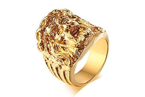XUANPAI Edelstahl Männer Ring Gold Religiöse Katholische Jesus Ring Jesus Gesicht Ring Schmuck, Größe 64