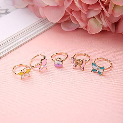Wuli77 Spiel-Schmuck Ringe für Kinder, verstellbare Ringe für kleine Mädchen, 10 Stück Mädchen Ringe ohne Herzform, zufällige Farbauswahl