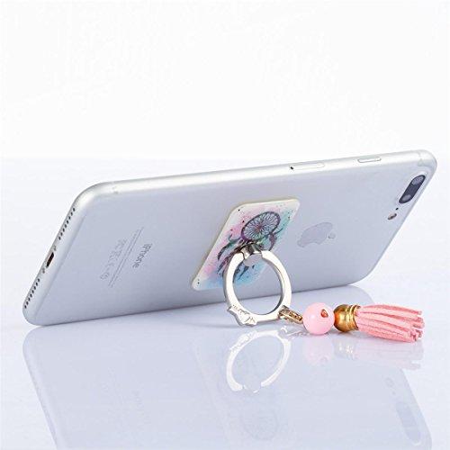 Bague Téléphone Mobile SUPPORT, Lifetrut Support rotatif en métal pompon stand avec support de voiture pour tous les téléphones mobiles, titulaire de support de poignée de bague, supports pour Smartph E01