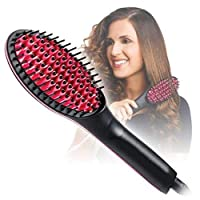 SADVIDHYA Hair Straightener Brush, Perfectday Ceramic Heating Straightening Irons Brush Anti Scald, Static, Detangling and Silky Straight