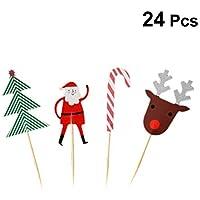 Amosfun 24 UNIDS Toppers de Pastel de Navidad Lindo Pastel de Navidad Cupcake Toppers Decorativos Muffin