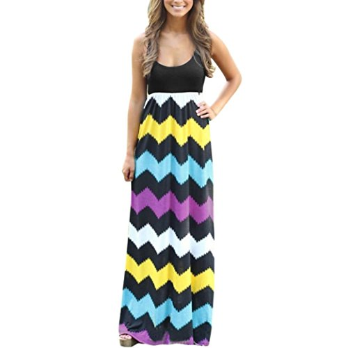 (JUTOO Dawomen Striped Long Boho Kleid Lady Beach Sommer Sundrss Maxikleid(Mehrfarbig, EU:46/CN:XXXL))