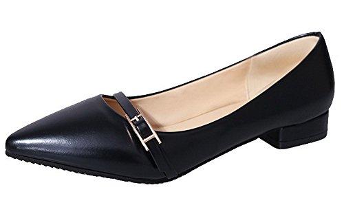 AgeeMi Shoes Damen PU Niedriger Absatz Rein Ziehen auf Pumps Schuhe,EuD62 Schwarz 41