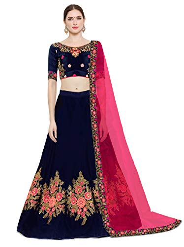 Kedar Fab Women\'s Silk Embroidery Lehenga Choli With Blouse Piece (Free Size blue Pink)