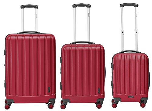 Packenger Velvet Koffer, Trolley, Hartschale  3er-Set in Rot, Größe M, L und XL