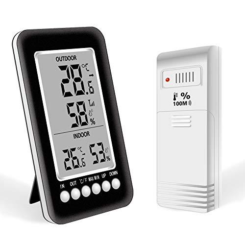 Termómetro Higrometro Digital Estacion Meteorologica Interior Exterior Nevera Termohigrometro con LCD...