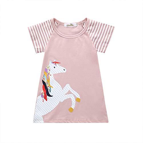 Kleinkind-Baby-Mädchen-Kind-Cartoon-Kleidung-Kinder-Kurzarm-Pony-gestreiftes-Kleid,Pferd-Streifen-Print-Princess-Partydress,SchnüRung-Feste-Oberteile,Ärmel-Krawatte-Einfarbig-Anzug