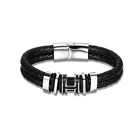 Lureme Schwarz Weave Leather Armband Men's Rostfreier Stahl Magnetic Buckle Wristband Armreif (bl003310)