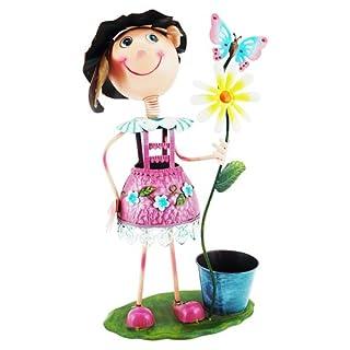 art decor Pflanzfigur Blumenmädchen, Metallfigur zum Bepflanzen, Höhe ca. 60cm, Rosa
