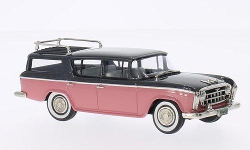 Wagon Rambler (Rambler Cross Country Wagon, metallic-dunkelgrau/rosa, 1957, Modellauto, Fertigmodell, Brooklin 1:43)