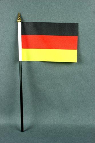 Kleine Tischflagge Deutschland 15x10 cm mit 25 cm Mast aus PVC-Rohr, ohne Ständerfuß, 4er Set