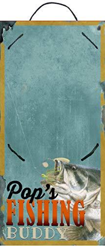 Studio R12 Bilderrahmen mit Aufschrift Grandpa's Fishing Buddy, 12,7 x 27,9 cm, Geschenk für Vater Papa, Großvater von Sohn oder Tochter Stiefsohn oder Stieftochter Enkel oder Enkelin 11