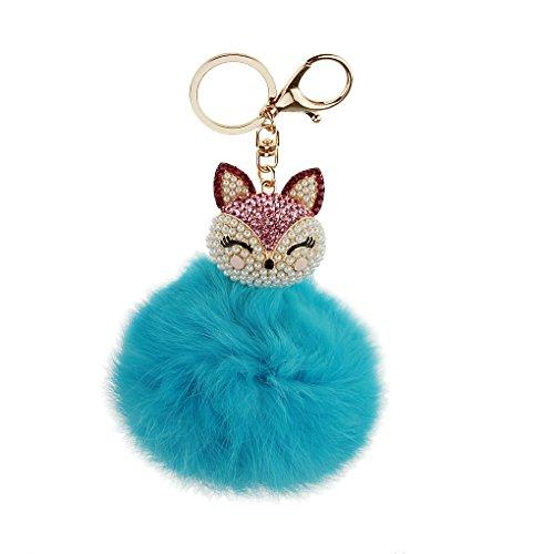 FakeFace Unisex Fashion Kugel Schlüsselanhänger aus Perle Fuchs Plüsch, Schlüsselring Schlüsselbund Fahrzeugschlüssel Taschenanhänger Handtaschenanhänger für Handy Auto Tasche (Hellblau)