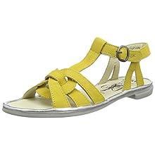 Fly London Women's COGE166FLY T-Bar Sandals, Yellow (Bright Yellow/Silver 002), 7 UK 40 EU