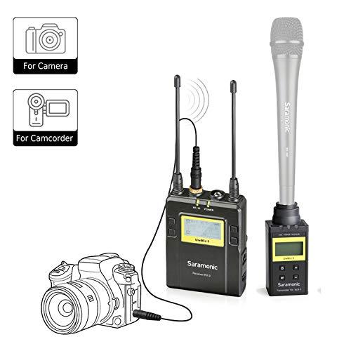 Saramonic tragbares UHF Funksender und empfänger Mikrofonsystem für die Verwendung von XLR-Mikrofonen mit Canon Nikon Sony Panasonic DSLR-Kameras für die Nachrichtenerfassung ENG Interview für Vlog (Film Kit Mikrofon)