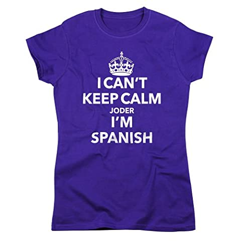 Nutees I Can't Keep Calm Joder I'm Spanish Femmes T Shirt - Violet Small