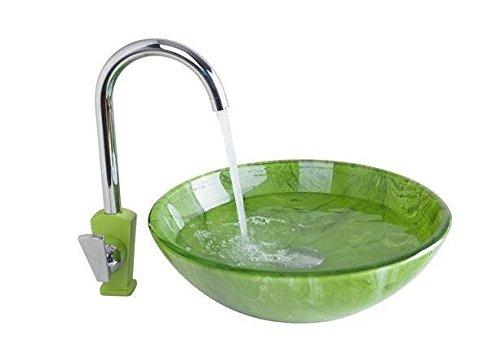 Gowe de salle de bain Lavabo Lavabo en verre peint à la main + robinet de lavabo Chromé Toilettes Bouquet Laiton Ensemble de robinet, robinet mitigeur
