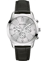 Bulova 96A162 Gents Premium Dress Watch, Embossed Leather Strap, Silver Analogue Dial, Japanese Quartz Power, Chronograph Capabilities, 30 metres Water Resistant.