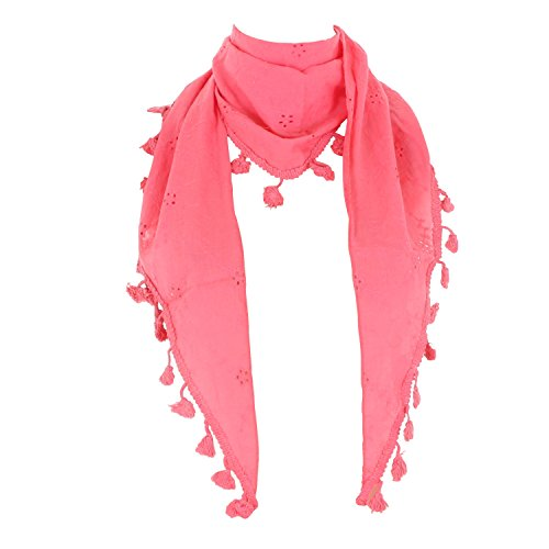 Damen Dreieckstuch mit Fransen (Schal, Halstuch, Stola) Nr. 373 Pink