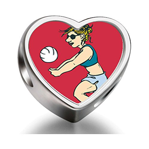 Bracelet Charm Bead London 2012 Olympics woman player hit volleyball Heart Sterling Silver Charm Beads Biagi beads European Charms Bracelets (Womens-volleyball Silver)