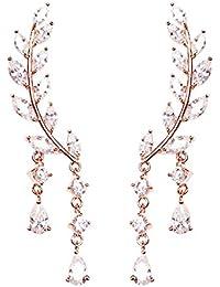 VEVI Damen Funkeln Rose Gold Blatt Form Roségold Ohr - manschette Ohrringe für Frauen Mädchen Party