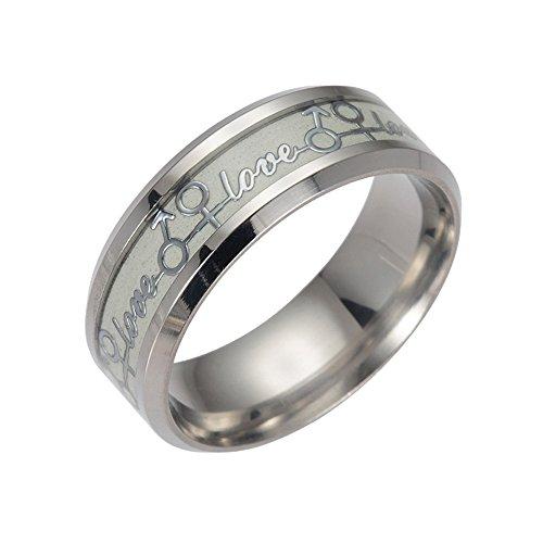 s Skull Rings For Men Glow In The Dark Rings Stainless Steel Women Rings Jewelry ()