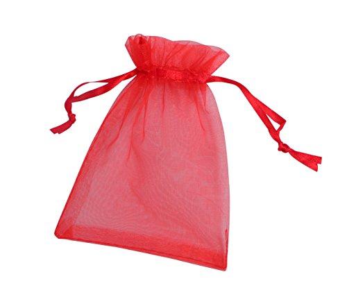 ONW Bolsas de Organza para Envolver Regalo Detalle de Boda Joyas Caramelo Dulces Bolsitas para Regalos ,Rojo 100 PCS 15x20 cm