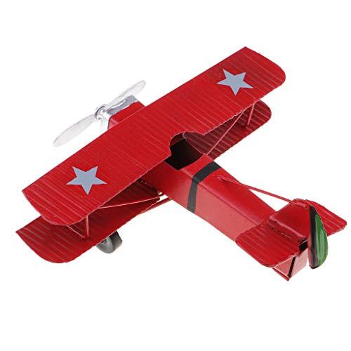Vintage Metall Flugzeug Modellflugzeug Segelflugzeug Doppeldecker Kinder Spielzeug Wohnkultur - rot