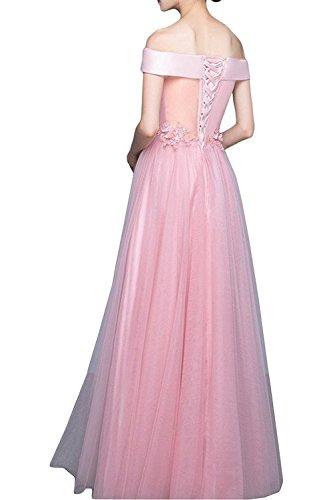 Ysmo Frauen aus Schulter Tüll Satin Prom Kleid Appliques Abendkleider Gray