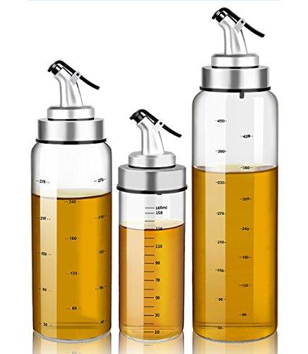 Olivenöl und Essig Dispenser - 10 Unzen klare Glas Cruet Flaschen zum Kochen mit keinen Tropf Auslauf Stopper - Küche Dispensing Cruces-Öl Ausgießer Dispensing Flasche,Pack of 1 (Glas-flasche Stopper)