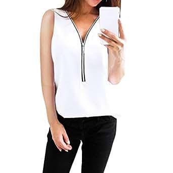 SANFASHION Bekleidung Camicia - con Bottoni - Tinta Unita - Rimovibile - Senza Maniche - Donna Bianco S
