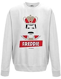 Sudadera cuello redondo parodia Vintage Creation Freddie Cantante Leyenda Mercury Queen, Arctic White